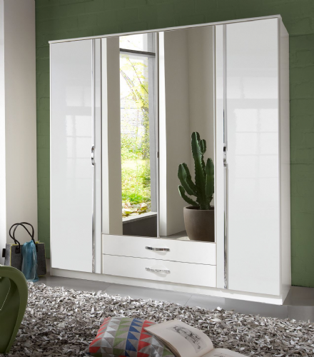 Ivana German White Gloss 4 Door Wardrobe - 2652